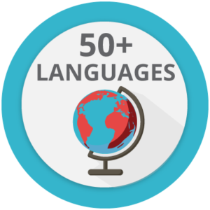 Icon that represents the possibility of communications in more than 50 languages