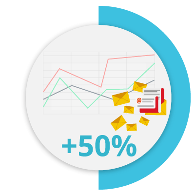 Icon that represents the increasing of back-office productivity by 50%