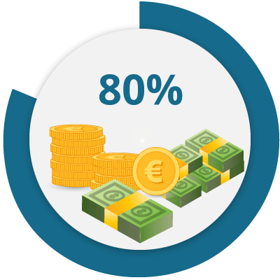 Icon that represents the possibility to reduce costs up to 80%