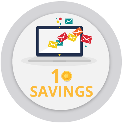 Icon that represent the possibility to save 1€ or 1$ for every communication delivered electronically