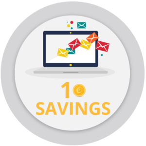 Icon that represents the possibility to save 1 euro per document online