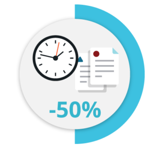 Icon that represents the process to create contracts 65% faster