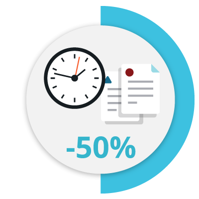 Icon that represents the process to create contracts 50% faster
