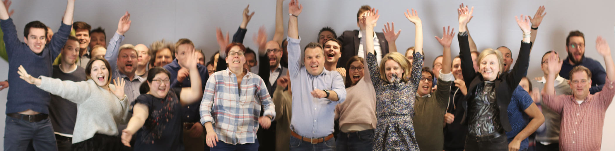 The Scriptura Engage team jumps in the air of hapiness
